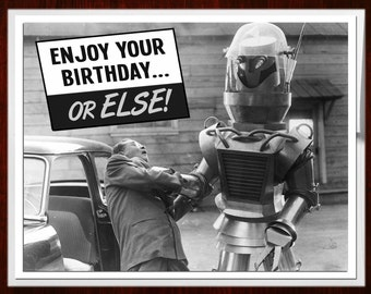 Birthday Card, B Movie Poster, Birthday Cards, black and white, Retro Robot, Scifi art, Retro Card, Robots, alternate histories, geekery