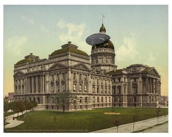 Digital Print, Indianapolis, UFO, Indianapolis art, State House, flying saucer, geekery, alternate histories, Indianapolis IN