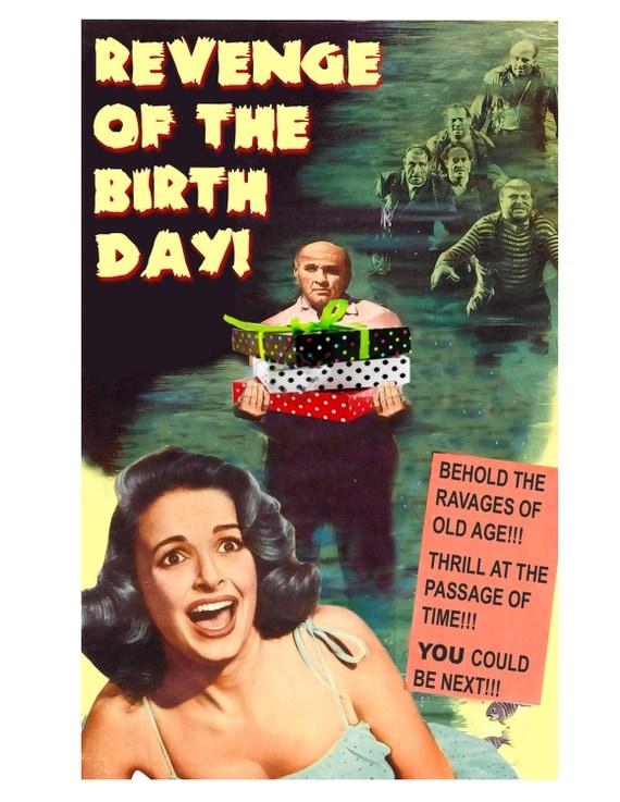 Birthday Card, B Movie Poster, Birthday, Zombies, Scream Queen, Scifi art, Retro Card, zombie art, alternate histories, geekery