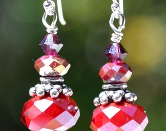 Perfect Earrings for Holidays , Faceted, Sterling  Silver, Ruby Drop Earrings
