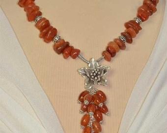 Large, Sterling Silver,  Flower Pendant, Brown, Orange Carnelian Hill Tribe Necklace