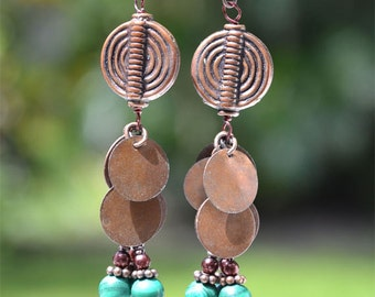 Ethnic Inspired Long Exotic, Brown and Green, Copper Disc Earrings