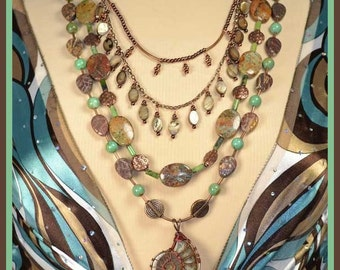 Cool Fall Colors, Long, Multi Strand, Wire Wrapped Ammonite Pendant and  Mother of Pearl, Turquoise Necklace, with Detachable Strands.