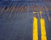 Roadway Double Yellow Line in a Parking Lot in San Diego California No.05 -  A Fine Art Abstract Photograph