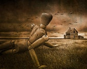 Christina's World Revisited, Wooden Artist Mannequin, Prairie Field, and Birds a Andrew Wyeth Tribute No.20345 A Surreal Fantasy Photograph