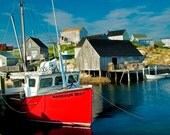 Peggy's Cove Fishing Village Harbor with the Red Boat Harbour Mist at the Dock in Nova Scotia Canada No.103 - A Fine Art Seascape Photograph