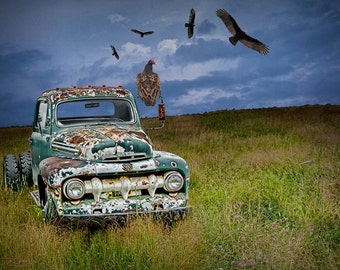 Turkey Vultures By An Abandoned Rusty Ford Truck In A Grassy Field A Fine  Art Surreal