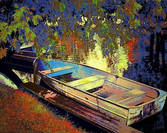 Boat Number 12 Impressionistic Image of Boat on Duck Lake at Interlochen Michigan near Traverse City a Fine Art Seascape Boat Photograph