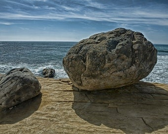 Boulders above the Tide Pools at Point Loma in San Diego California No.0139 A Geographical Nautical Seascape Photograph