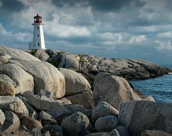 Peggy's Cove Lighthouse in Nova Scotia Canada Number 142 A Nautical Seascape Lighthouse Photograph