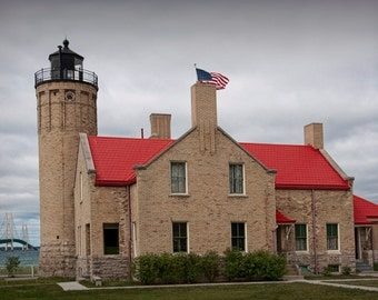 Mackinaw City Lighthouse by the Straits of Mackinac in Michigan between Lake Huron and Lake Michigan No.2446 Lighthouse Seascape Photograph
