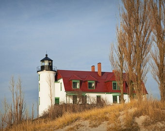 Point Betsie Lighthouse on Lake Michigan in Late Fall near Frankfort Michigan No.140 A Lighthouse Nautical Seascape Photograph