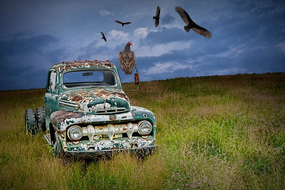 Turkey Vultures by an Abandoned Rusty Ford Truck  in a Grassy Field A Fine Art Surreal Fantasy Photograph