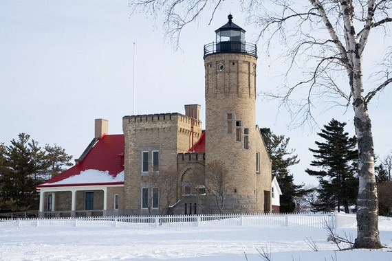 Mackinaw City Lighthouse by the Straits of Mackinac between Lake Michigan and Lake Huron in Michigan in Winter No.667 - A Lighthouse Photo