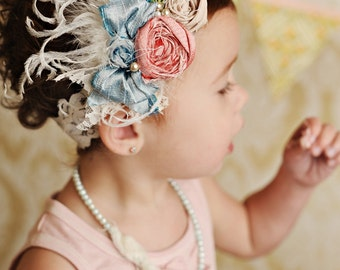 mademoiselle silk bow rosette headband with feathers