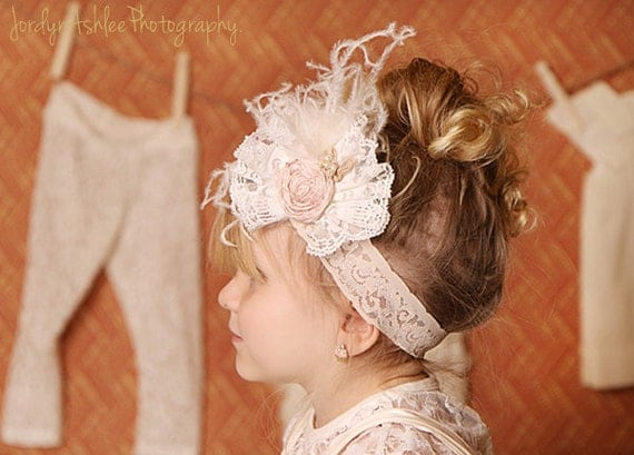 Vintage Lace Bow with Rosette headband