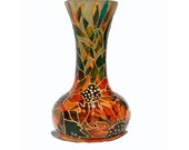 Hand Painted Glass Vase Sunflower Botanical Home decor Orange green Gold Kitchen Patio Decor - Decorative Glass Art