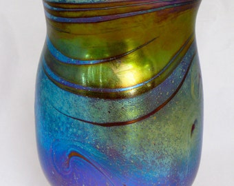 Iridescent Hand Blown Art Glass Vase by Eric W. Hansen
