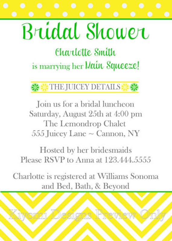 Main Squeeze Lemon Lime Themed Bridal Shower Digital Invitation - DIY ...