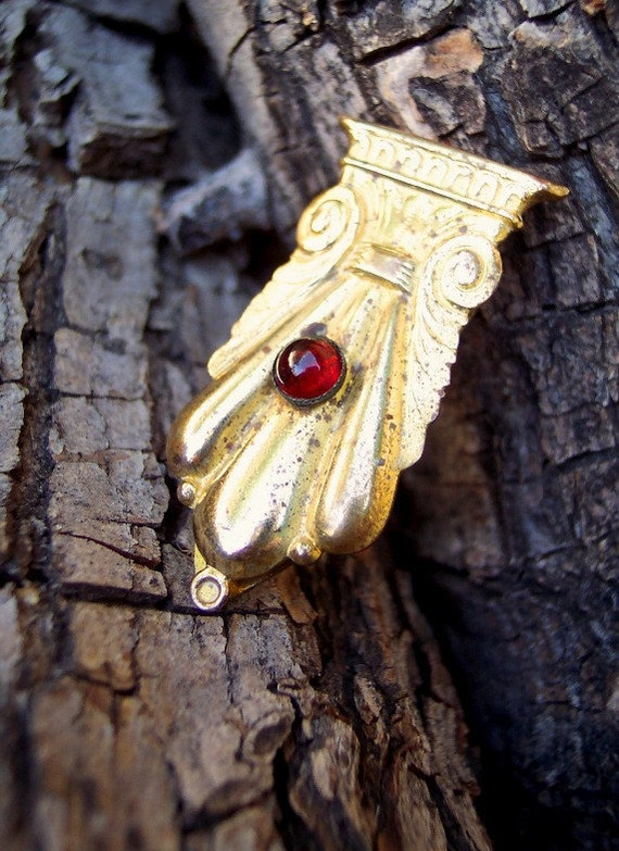 Gypsy - Antique 1910s 1920s Grecian Brass Dress Clip with Garnet Glass Cabochon Stone