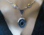 Silver Locket with Crystals - Opens for Photos on each Side