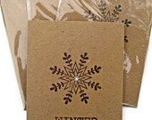 Rustic Snowflake Holiday Card, Set of 6, Handmade, Brown, Winter, Christmas, Snow
