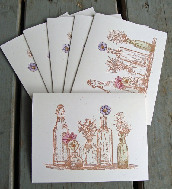 Handstamped Wildflowers in Sepia, Set of 6 Blank Note Cards, Glass Bottles, Watercolor, Nature, Rustic, Country
