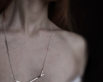 Sticks 05 - silver twig necklace - sterling silver geometrized twig chain necklace - minimalist necklace