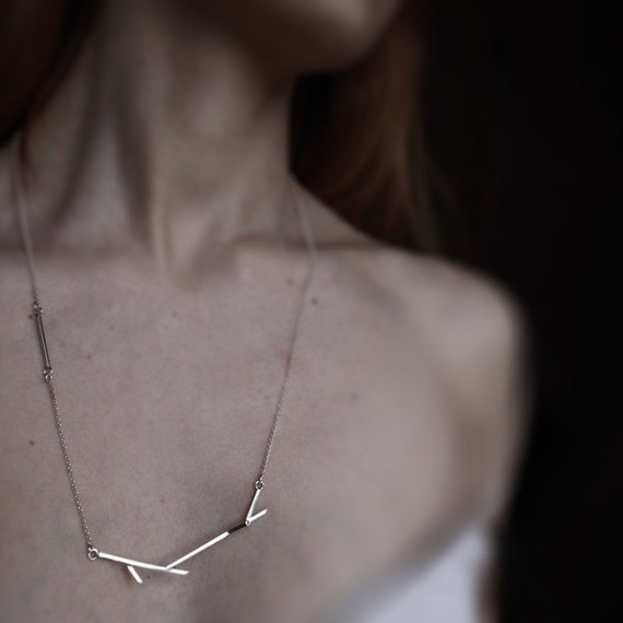 Sticks 05 . sterling silver twig necklace