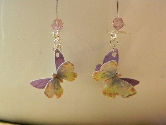 Paper Butterfly Earrings - Purple, Blue, Cream Butterfly Paper Earrings on Kidney Hooks - Watercolor Style