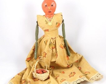 Pumpkin Primitive Folk Art Doll - On Sale
