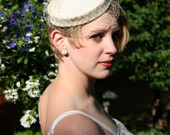 White Pillbox Hat with Detachable Birdcage Veil, made to order