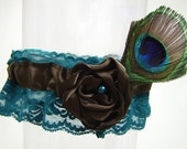 Peacock Feather Wedding Garter with Teal Lace Chocolate Brown Flower