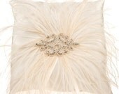 Ivory Satin Ring Bearer Pillow with Ostrich Feathers and Crystal Center