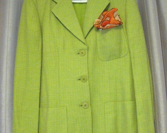 Sale, Was 102 - Mint Vintage MAX MARA Spring Green Yellow Tweed Pattern Light Weight Weekend Jacket - Made In Italy - US 6 - Spring Summer