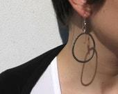 Black round iron Earrings - Italy Handmade