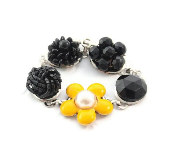 Vintage jewelry recycled, Honey Comb,