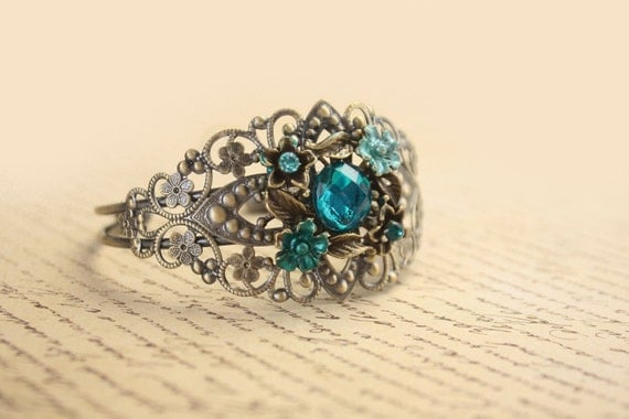 Recycled jewelry.  Vintage earring cuff bracelet . One of a kind.