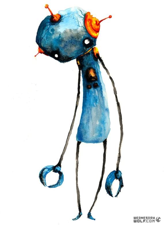 Blue Robot - Matte Print