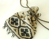 Antique Beaded Flapper Purse - 20's Seed Bead Purse - Evening Bag Black and Ivory - gift idea for collectors