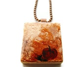 Red Apple Scrabble Art Necklace Hand Painted on Copper Leaf Nature Inspired Art Jewelry