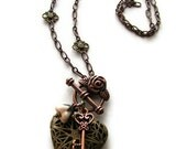 Romantic Heart Locket Necklace Copper and Brass in Bohemian Vintage Style -Unlock My Heart
