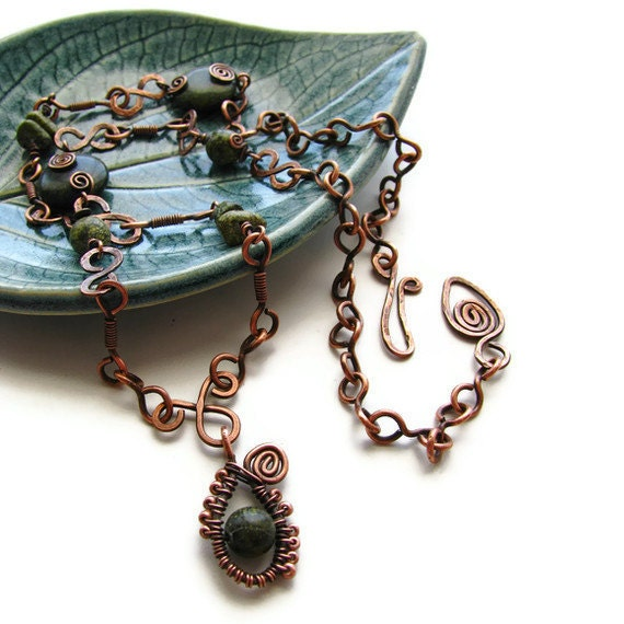 Russian Serpentine Statement Necklace Hand Forged Rustic Copper Wire Wrapped CLEARANCE SALE - Moss