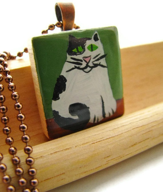 Fat Cat Scrabble Necklace Hand Painted in Black and White Spotted Cat CLEARANCE SALE