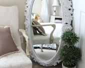 O V A L .Huge Vintage Shabby Chic Mirror , Baroque Framed Oval Mirror