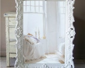 White Baroque Mirror, Large Shabby Chic Mirror, Vintage - smallVintageAffair