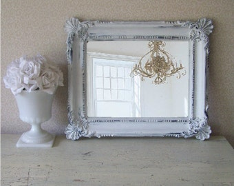 C O A S T A L, Vintage Cottage Shell Chic Mirror, Shabby Chic Mirror, Beach Cottage