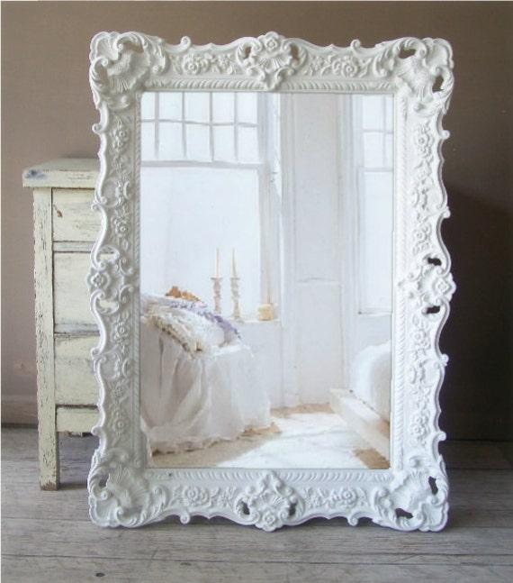 B A R O Q U E ...White Mirror, Large Shabby Chic Mirror, Vintage