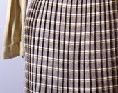 vintage 1960s pleated brown and yellow skirt