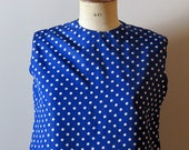 vintage 1950s blue and white polka dots top
